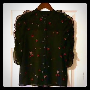 Who What Wear Black floral blouse